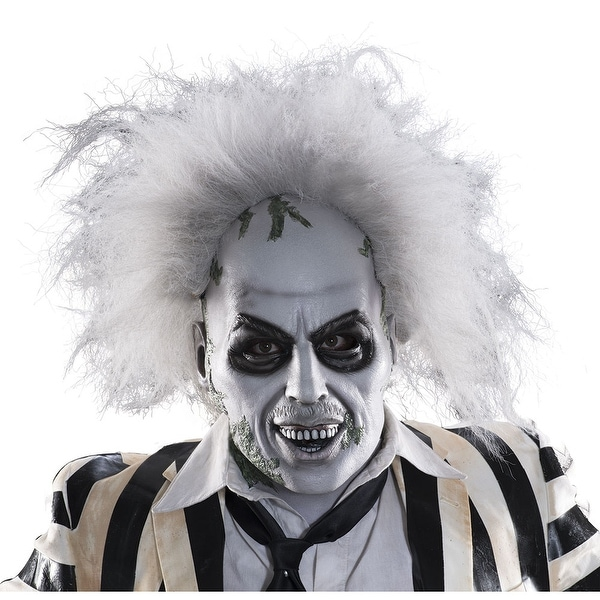 adult beetlejuice deluxe halloween mask with hair standard one size