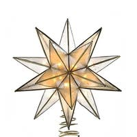 "8.25"" Lighted 15-Point Star Shaped Christmas Tree Topper- Clear Lights - Gold"