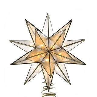 """8.25"""" Lighted 15-Point Star Shaped Christmas Tree Topper- Clear Lights - Gold"""
