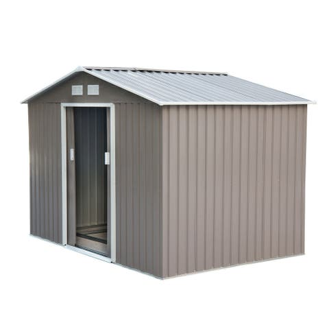 Outsunny 9'x6' Metal Outdoor Backyard Garden Utility Storage Tool Shed with Large Design & Weather-Resistance, Grey