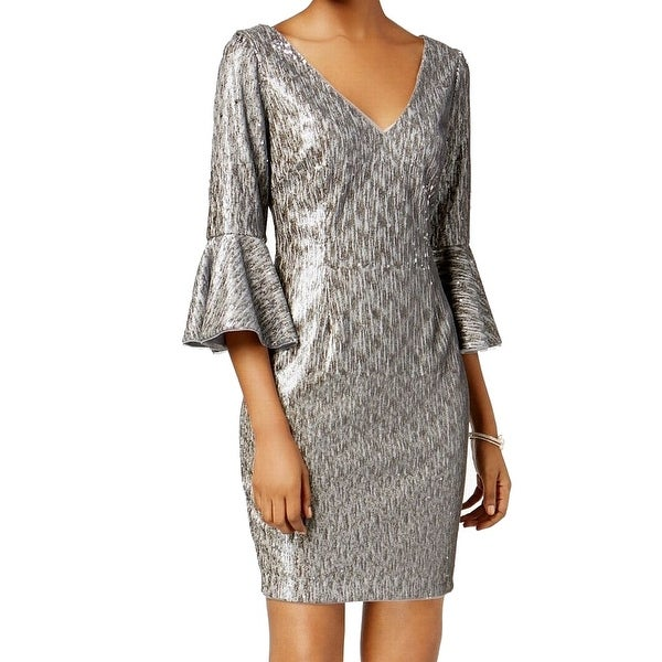 9ae6f08363 Shop Adrianna Papell Silver Women's 18W Plus Sequin Bell-Sleeve ...