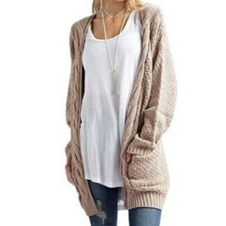 Womens Sweater Cardigans Boho Long Sleeve Open Front Chunky Warm Cardigans Pointelle Pullover Sweater Blouses