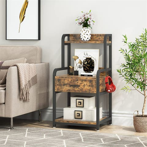 Nightstand, 3-Tier Bedside Table with Drawer&Storage Shelves