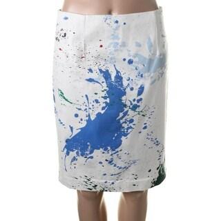 Tibi Womens Twill Splatter Pencil Skirt - 4