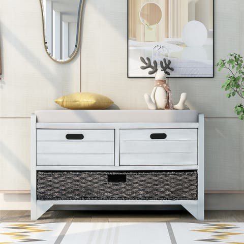 Kinwell Storage Bench Entryway Bench with Removable Basket and 2 Drawers Fully Assembled