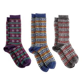 Tey-Art Women's Alpaca Wool Socks - Snowflakes & Stripes Winter Theme - One size