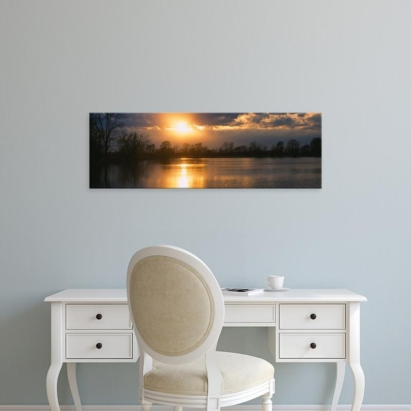 Easy Art Prints Panoramic Images's 'Reflection of sun in water, West Memphis, Arkansas, USA' Premium Canvas Art