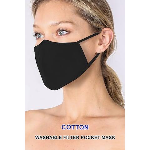 3-PACK UNISEX Non-Medical Washable Cotton Face Mask w/ Filter Pocket