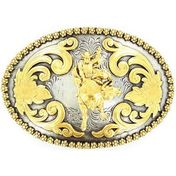 Nocona Western Belt Buckle Oval Bull Rider Gold Silver - 2 3/4 x 4