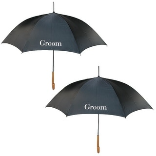ShedRain Men's Groom Wedding Stick Umbrellas with Hook Handle (2 Pack) - groom and groom - One Size