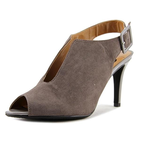 J. Renee Myra Women Peep-Toe Suede Gray Slingback Heel