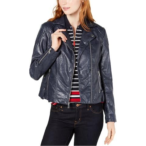 Tommy Hilfiger Womens Quilted Motorcycle Jacket, blue, X-Large