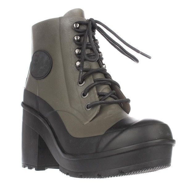 Hunter Original Block Heel Lace Up Rainboots, Swamp Green/Black