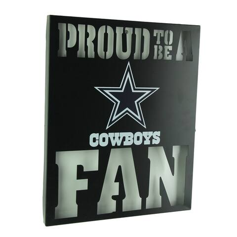 Proud To Be A Dallas Cowboys Fan Cutout Metal Wall Sign - Black - 14.75 X 12 X 1 inches
