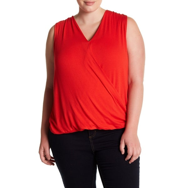 151943c6961f14 Shop Bobeau Red Women s Size 2X Plus Surplice Textured Knit Tank Top - Free  Shipping On Orders Over  45 - Overstock - 27873573