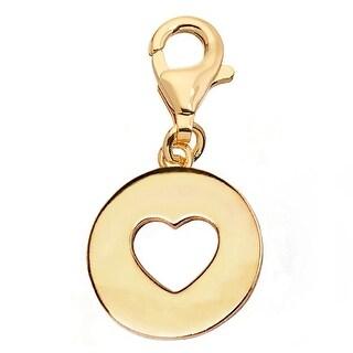 Julieta Jewelry Heart Disc Gold Sterling Silver Charm