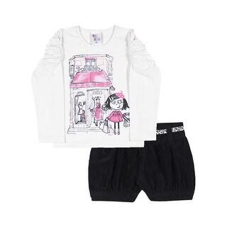 Toddler Girl Outfit Long Sleeve Shirt and Shorts Set Pulla Bulla Sizes 1-3 Years
