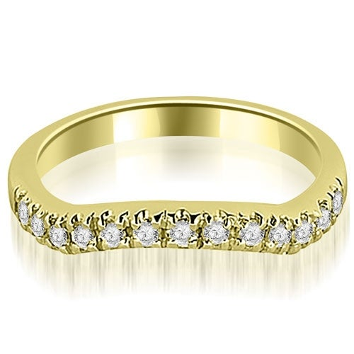 0.35 cttw. 14K Yellow Gold Curved Round Cut Wedding Band