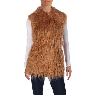 Guess Womens Arianna Vest Faux Fur Pockets
