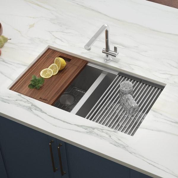 Ruvati 33-inch Workstation Ledge 50/50 Double Bowl Undermount 16 Gauge Stainless Steel Kitchen Sink - RVH8350. Opens flyout.