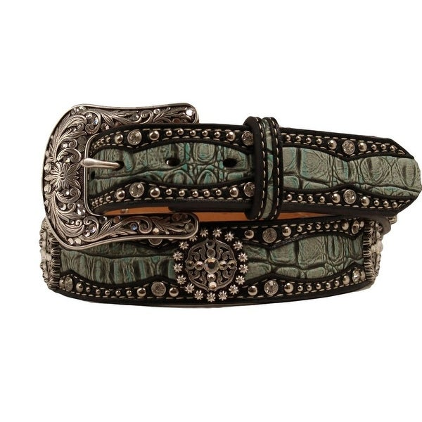 Ariat Western Belt Womens Croc Overlay Leather Green