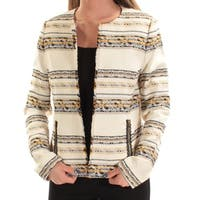 Womens Ivory Black Striped Wear To Work Suit Jacket  Size  4