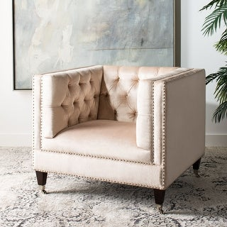 Link to Safavieh Couture Miller Pearl Tufted Velvet Commercial Grade Chair Similar Items in Sofas & Couches