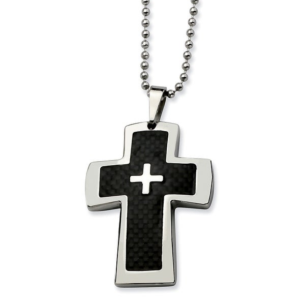 Chisel Stainless Steel Polished & Carbon Fiber Cross Pendant 22 Inch Necklace (1 mm) - 22 in