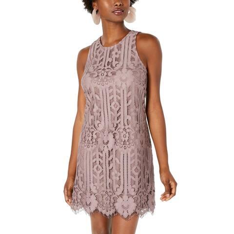 Speechless Womens Shift Dress Mauve Purple Size XS Floral Lace Halter