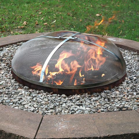 """Sunnydaze Spark Screen 24"""" Stainless Steel Rust Resistant Fire Pit Accessory - 24-Inch"""