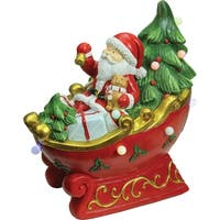 "18"" LED Lighted Santa in a Sleigh Musical Christmas Tabletop Decoration - RED"