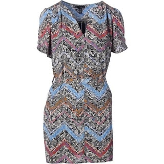 Aqua Womens Juniors Chevron Print Casual Dress