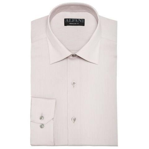 Alfani Mens Dress Shirts Sand Beige Size XL Button-Front Regular-Fit