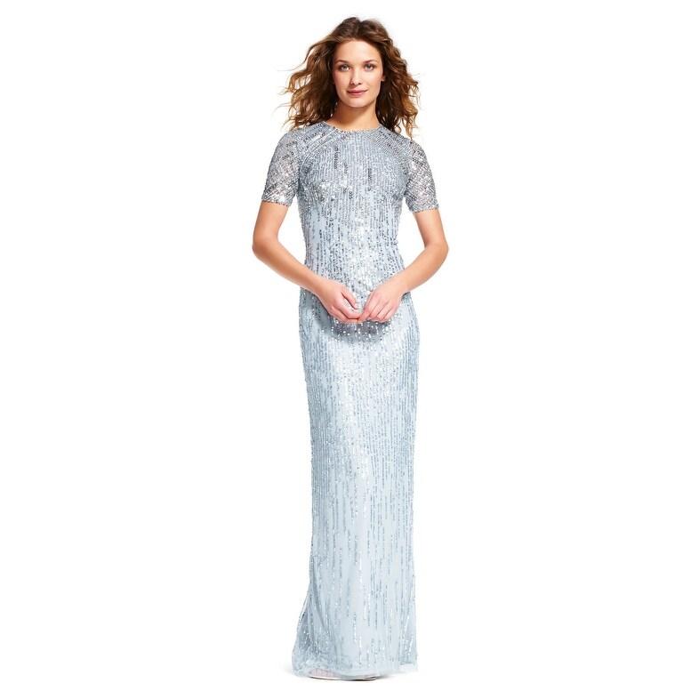Adrianna Papell Sheer Short Sleeve Beaded Dress Slit Skirt Blue Heather 0