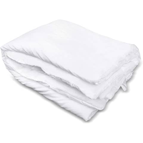 Polyfill Toddler Comforter for Crib & Bed, Lightweight and Breathable, Baby Quilt Blanket (36x51) White