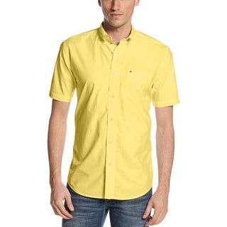Tommy Hilfiger Classic Fit Button-Down Shirt Large L Yellow Solid Cotton