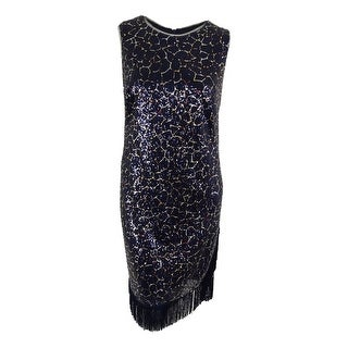 Betsy & Adam Women's Fringe Trim Sequined Dress - Navy