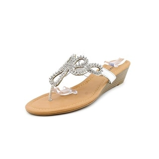 Rampage Casting Women Open Toe Synthetic Silver Thong Sandal