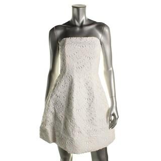 Alice + Olivia Womens Lace Overlay Strapless Mini Dress