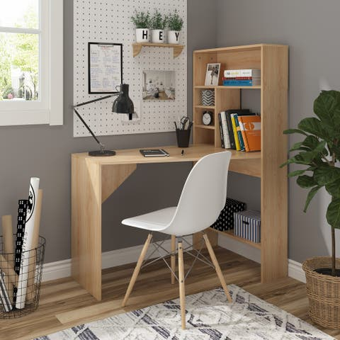 HOMCOM Wooden Computer Desk Workstation PC Laptop Writing Table with Hutches Storage Shelf