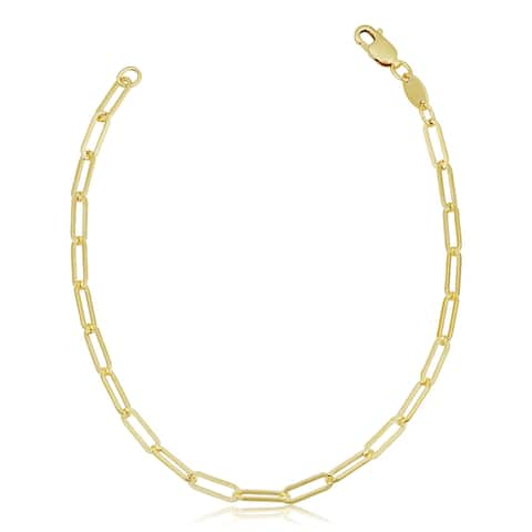 Solid 14k Gold Filled Paper Clip Link Chain Bracelet for Women (3.1 millimeters, 7.5 inches)