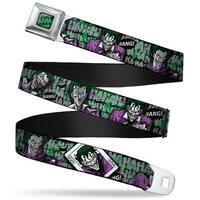 Haha Stacked Full Color Black Gray Green The Joker 4 Poses Joker Card Haha Seatbelt Belt