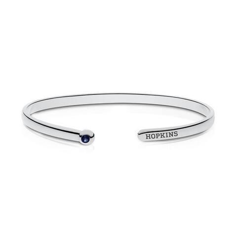 Johns Hopkins University Engraved Sterling Silver Sapphire Cuff Bracelet