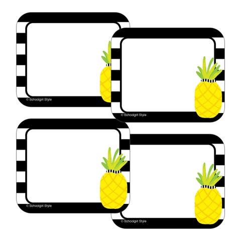 Simply Stylish Tropical Pineapple Stripe Name Tags - One Size