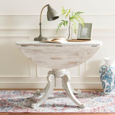 SAFAVIEH Forest Antique White Drop Leaf Dining Table - 43.3' x 43.3' x 30.7'