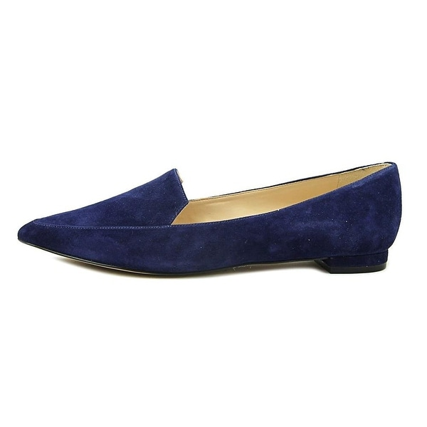 Nine West Womens Abay Leather Pointed Toe Loafers, Navy Su, Size 9.0