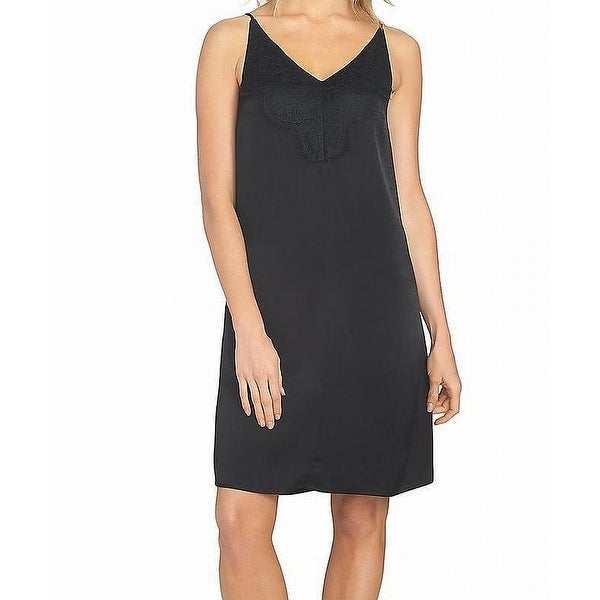 1. State Deep Black Womens Size Large L Lace Insert Slip Dress