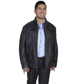 Scully Western Jacket Mens Lambskin Leather Zip Charcoal 118-228
