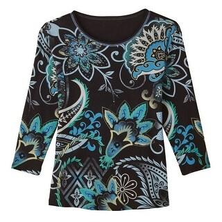 Women's Ladies T-Shirt - Paisley & Flowers All-Over Print 3/4 Sleeve Tee
