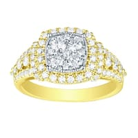Prism Jewel 1.32 TCW Round Natural G-H/SI1 Diamond Two-Tone Gold Engagement Ring - White G-H